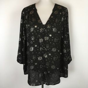 Torrid Blouse Button Front Roll Tap Sleeve